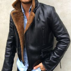 Winter essentials | the shearling biker jacket. #mensjackets #mensstyle
