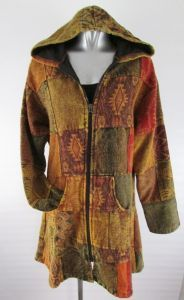Hippy Coat~Bohemian Multicoloured Patchwork Hooded Jacket Warm Cotton Winter Hippy Long Jacket~Fair Trade By Folio Gothic Hippy N951JK5