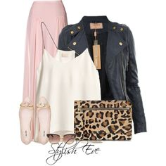 #outfit #outfits #black #blackleather #blackjacket #pink #skirt #pinkskirt #leopard #clutch #leopardclutches #ballerina #cute #set #sets #awesome