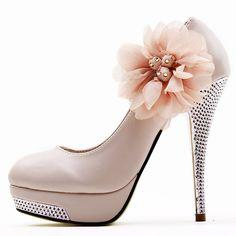 Dresswe.com SUPPLIES Sweet Apricot PU Upper Stiletto Heel Women Pumps Prom Shoes #Dresswe pretty shoes #Dresswe fashion shoes #Dresswe cute shoes