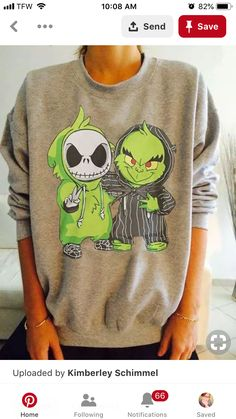 The Grich in Jacks clothing and Jack in the Grinch's clothes – Best outfit ideas Nightmare Before Christmas, Looks Style, My Style, Diy Love, Jack And Sally, Tim Burton, Grunge Outfits, Graphic Sweatshirt, T Shirt