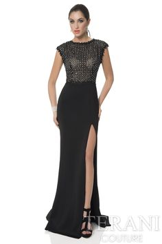 Cap+sleeve+top+evening+gown+with+crystal+jewel+encrusted+lace+trimmed+bodice.+This+long+formal+dress+has+a+neoprene+floor+length+skirt+finished+with+a+thigh+high+slit.