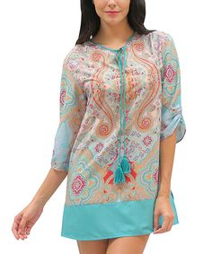 Love this Caite Pink & Teal Paisley Notch Neck Tunic by Caite on #zulily! #zulilyfinds
