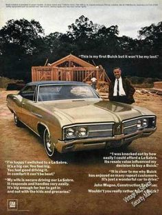 "Buick Lesabre Photo ""This Is My First Buick"" Vintage Advertisements, Vintage Ads, Buick Cars, Buick Lesabre, Car Memes, Car Advertising, Old Ads, American Muscle Cars, Retro Cars"