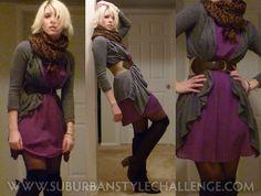 Random Outfits (Feb): Pleated dress, Express cardigan, OTK socks, and riding boots