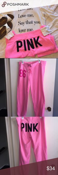 Victoria's Secret PINK Sweatpants soft and cute bright pink sweatpants from PINK Victoria's Secret, perfect for lazy weekends!  ✨just trying to clean out my closet, make a reasonable offer!✨ PINK Victoria's Secret Pants Track Pants & Joggers