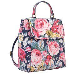 Greenwich Rose Turnlock Backpack. Cathrine Kidston