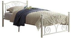 Inspire Q Etna Platform Metal Bed - White - Twin Size