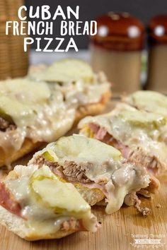 Cuban French Bread Pizza Recipe - It's loaded with ham, shredded pork and Swiss cheese; and adds an awesomely delicious twist to your favorite French bread pizza. Homade Pizza Recipes, White Pizza Recipes, Healthy Pizza Recipes, Gourmet Recipes, Pork Recipes, Delicious Recipes, Easy Recipes, Yummy Food, Bagel Pizza