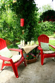 decorating your patio with @Lowe's Red Chairs.