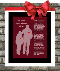 Personalized Wedding Gift for Parents Father Of The Groom. Thank You From Son. $15.00