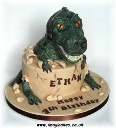 Trevor The T Rex By Imagicakes CakesDecor Com Cake Decorating T Rex Cake, Dino Cake, Egg Cake, Beautiful Cakes, Amazing Cakes, The Good Dinosaur Cake, Dinasour Cake, Barney Cake, Dinosaur Birthday Cakes