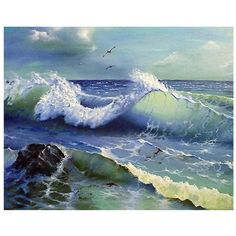 Huacan DIY Diamond Painting Cross Stitch Sea Waves Home Decor Full Square Rhinestone Mosaic Diamond Embroidery Cross Paintings, Seascape Paintings, Easy Paintings, No Wave, Landscape Art, Landscape Paintings, Beau Gif, Step By Step Painting, Drawing Step