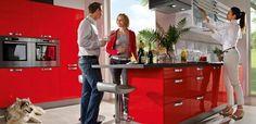 Kücheneinrichtung Häcker-Neo Rot-Glanz Jalousie-Oberschränke