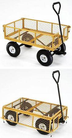 """This pull wagon can carry heavy loads with ease. The sides fold down, too, to make it a flatbed wagon. """"I wanted a sturdy utility cart to pick up trash that gets thrown along our dirt roadside, and also help with gardening, bring groceries to the house, haul firewood, small chores like that. I am a 64-year old female and this cart is the perfect answer for me."""" --Home Depot customer MtnMom"""