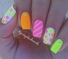 Neon Summer Nails Art Designs #summernailart
