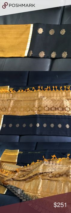 New Kanchepuram black silk saree This is a black and gold silk saree, not frequently found. Does not come with a blouse. Beautiful and ethnic and makes you elegantly stand out. Price firm unless bundled Other