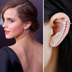 1 Pcs Fashion Elegant Zircon Long Star Clip Earrings For Women Punk Crystal Wrap Ear
