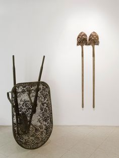 Blowtorch Filigree: Lace Patterns Delicately Cut from Industrial Steel Objects by Cal Lane
