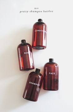 DIY - Pretty shampoo bottles -Tutorial...update: check this one off the list as DONE. Used glass paint and stencils instead of stickers