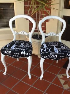 Painted & re-upholstered balloon back dining room chairs. www.facebook.com/Jomarievintagefurniture