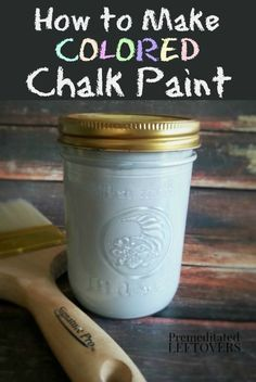 How to Make Colored Chalk Paint - Get the popular look of chalk paint for less! This easy and frugal DIY project includes a recipe for homemade chalk paint, a tutorial, and tips for using chalk paint in your home decor. Colored Chalkboard Paint, Homemade Chalkboard Paint, Diy Chalk Paint Recipe, Make Chalk Paint, Chalk Paint Projects, Chalk Paint Furniture, Chalk Paint Tutorial, Furniture Design, Paint Decor