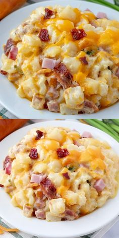 Hearty, creamy and flavorful these Cheesy Potatoes are filled with bits of ham, crumbled bacon, loads of cheese and is bursting with flavor in each and every bite. #bacon #ham #potatoes #recipe #easyrecipe #cheesy