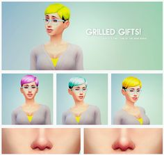 Hair recolors and nose blush at Overly Grilled Cheese via Sims 4 Updates