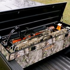 *For my pink, camo accented truck. =) * Realtree camo truck storage system by Concealed Outdoors Real Tree Camo, Cool Trucks, Big Trucks, Chevy Trucks, Truck Tools, Truck Tool Box, Camo Truck Accessories, Vehicle Accessories, Camo Gear