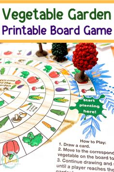 This free printable garden board game is perfect for kids. Children will enjoy drawing a vegetable card and moving around the board to plant their garden. With the warm months on the horizon, this… Printable Games For Kids, Printable Board Games, Free Games For Kids, Games For Toddlers, Activities For Kids, Articulation Activities, Free Printables, Free Board Games, Preschool Board Games