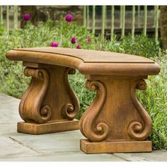 Outdoor Campania International Fontenay Cast Stone Backless Garden Bench Verde - BE-122-VE