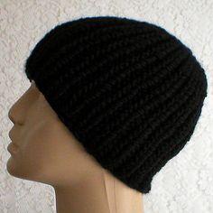 f2e675a03e6 Black ribbed beanie hat mens womens black knit hat black toque mens womens  black beanie hat mens womens black winter hat black chemo cap V1