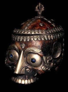 KAPALA SACRED HUMAN SKULL: HUMAN SKULL DECORATED IN SEMI PRECIOUS STONES, METAL, GLASS, HAND CARVED HUMAN SKULL CAP