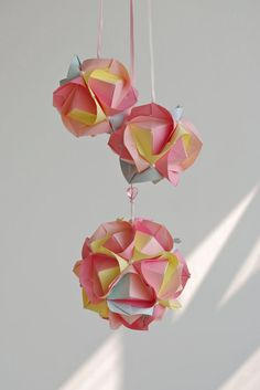 Set of three Candy balls Wedding decoration in pink by Waveoflight
