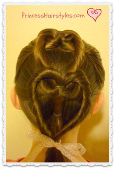 I love this double heart.  It looks simple and cute.  I'm excited to try it! Heart French Braid Hairstyle Tutorial