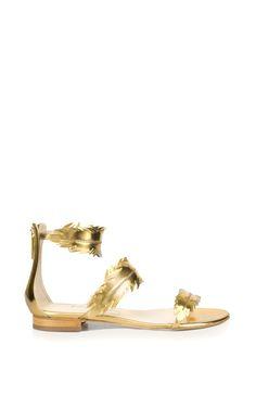 Abigail Metallic Gold Feather Sandal by Oscar de la Renta for Preorder on Moda Operandi