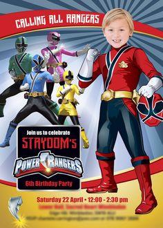 Power Rangers Birthday Invitation with your kid as the star of the invitation. Sample. Turn him into a Power Ranger. Power Rangers Birthday Ideas. Power Rangers Invitation #myheroathome
