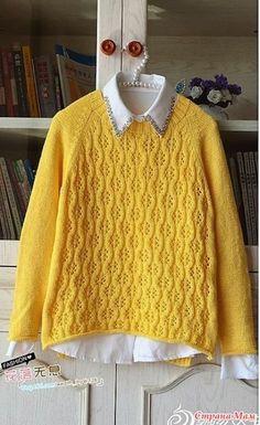 Очаровательный пуловерреглан спицами.