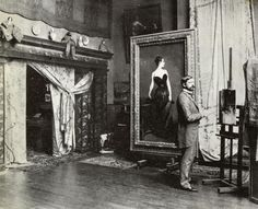 One of my favorite artists hard at work  John Singer Sargent in his studio, c. 1884