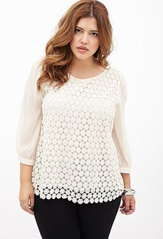 Crocheted Chiffon-Sleeve Top | FOREVER21 PLUS - this is so pretty and breezy. Could go easily from summer to fall #plussize #plussizestyle