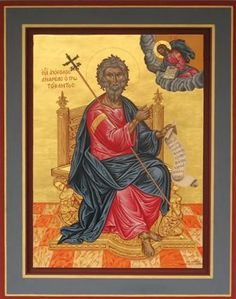 Religious icon of Saint Andreas in throne.