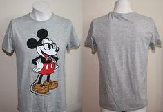 Genuine Disney Mickey Mouse Fashion Designer Tshirt Size M Grey Big Print Anime
