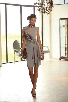 Simple Scoop Knee Length Brown Chiffon Sheath Column Mother Of The Bride Dress B2lr0018