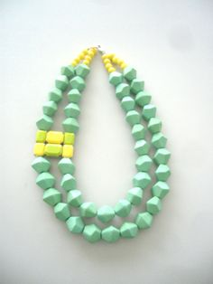 Green statement necklace wedding necklace multi by stavroula