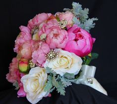 Vintage Silk Flower Bouquet with Grandmas Vintage Brooches intertwined among the flowers. Silk Flower Bouquets, Flower Bouquet Wedding, Silk Flowers, Vintage Brooches, Floral Wreath, Wreaths, Bride, Plants, Flower Crowns