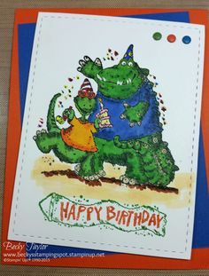 Prehistoric Party, colored with Spectrum Noir markers, stampinup, dinosaurs birthday, Boy's birthday, kid's birthday