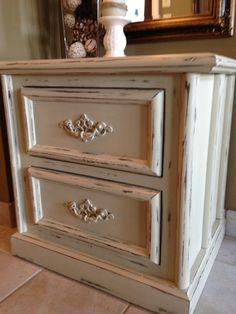 Night stand painted & distressed using Annie Sloan chalk paint