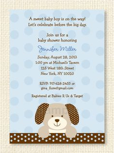 Puppy Dog Printable Baby Shower Invitation on Etsy, $12.00