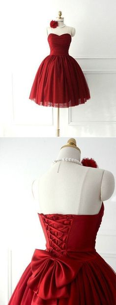 Burgundy Ruched Sweetheart Short Tulle Homecoming Dress Featuring Lace-Up and Unique Prom Dresses, Dresses Short, Long Prom Gowns, Hoco Dresses, Popular Dresses, Homecoming Dresses, Beautiful Dresses, Vintage Dresses, Evening Dresses