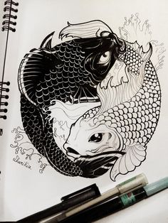 ZODIAC SIGNS Pisces feat Taijitu is part of Pisces tattoos - Basically the yin and yang symbol performed by two japanese carps that I drew in class during boring lessons xD This remind me the zodiac pisces sign, s ZODIAC SIGNS Pisces feat Taijitu Koi Fish Drawing, Fish Drawings, Art Drawings, Japanese Koi Fish Tattoo, Kunst Tattoos, Body Art Tattoos, Sleeve Tattoos, Circle Tattoos, Owl Tattoos